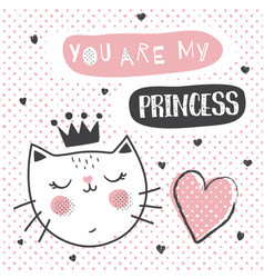 princess cat vector image vector image