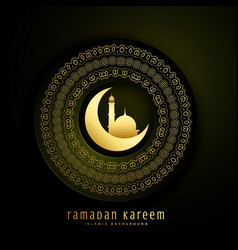 Ramadan kareem greeting with moon mosque and vector