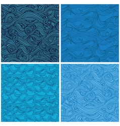 set of seamless pattern with hand-drawn waves vector image vector image