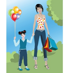 shopping mom vector image