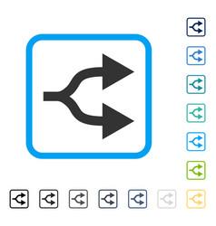 Split arrows right framed icon vector