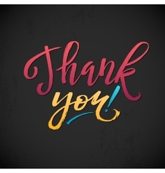 Thank You Card Calligraphic Inscription Bright vector image vector image