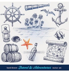 Travel and adventures hand drawn set vector image vector image