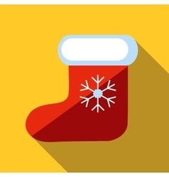 Christmas sock icon flat style vector image