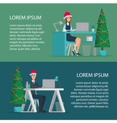 Happy office worker man and woman wearing santa vector