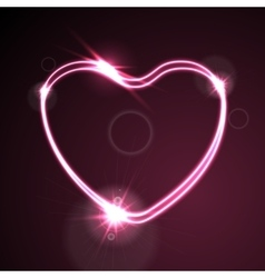Pink heart glowing neon effect abstract vector