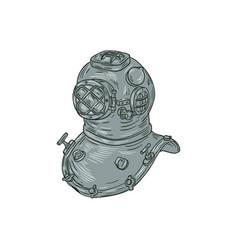 Old school diving helmet drawing vector