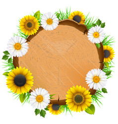 Wooden board with flowers vector