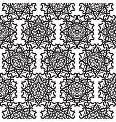 Mandala lace black seamless pattern vector