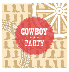 Cowboy party card background vector