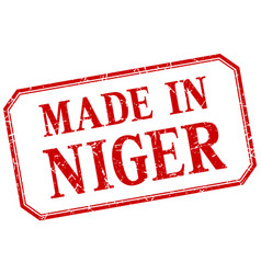 Niger - made in red vintage isolated label vector