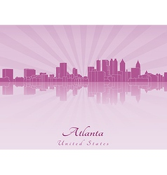 Atlanta skyline in purple radiant orchid vector image