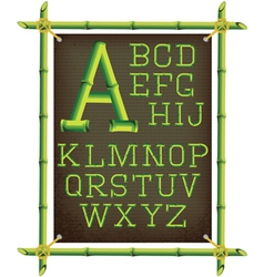 Bamboo frame with canvas and stylized alphabet vector