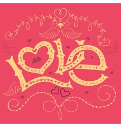 Love hand-lettering valentines day card vector