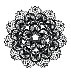 Black crochet doily vector