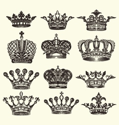 Set of vintage royal crown vector