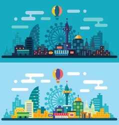 Night and day city landscape vector