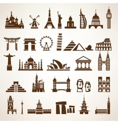 Big set of world landmarks and historic buildings vector