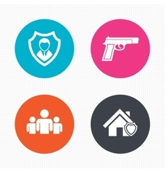 Security agency icons home shield protection vector
