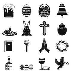 Easter black simple icons vector
