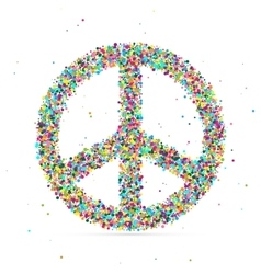 Peace symbol consisting of colored particles vector