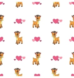 Cute seamless pattern with little cartoon deer vector