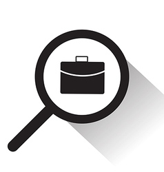 Magnifying glass with bag icon vector