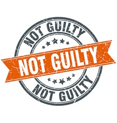 Not guilty round orange grungy vintage isolated vector