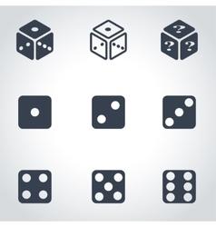 Black dice icon set vector