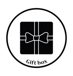 Gift box with ribbon icon vector