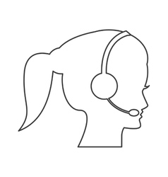 Female person with headset icon vector