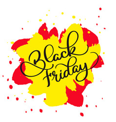 black friday calligraphy text on yellow and red vector image