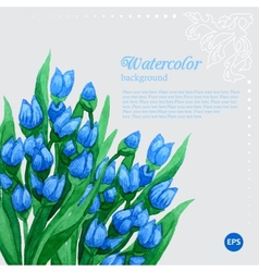 Blue tulip floral watercolor frame vector image