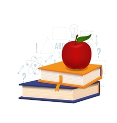 Book and apple vector image vector image