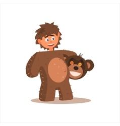 Boy desguised as bear vector