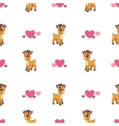 Cute seamless pattern with little cartoon deer vector image vector image