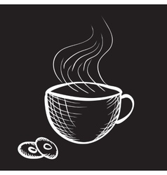 Engraved cup of coffee vector