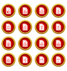 File format icon red circle set vector