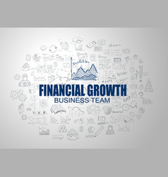 Financial growth concept with business doodle vector