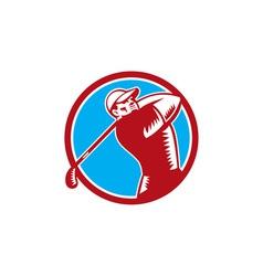 Golfer tee off golf circle woodcut vector