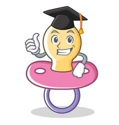 graduation baby pacifier character cartoon vector image