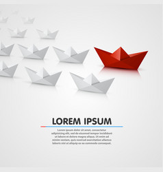 Leader paper boat different vector