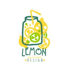 lemon logo template original design colorful hand vector image vector image