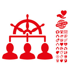 Management steering wheel icon with dating bonus vector
