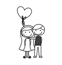 Monochrome contour caricature of couple in formal vector