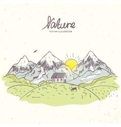 Mountain sketch color vector