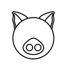 Outline pig head animal vector