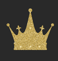 royal crown icon with glitter effect isolated on vector image vector image