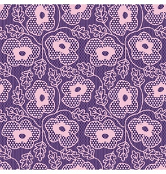 Seamless pink flower lace pattern vector image