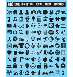 Set 100 various icons for design vector image vector image